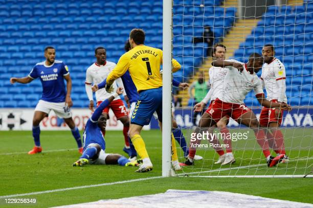 Sheyi Ojo of Cardiff City scores the equaliser during the Sky Bet Championship match between Cardiff City and Middlesbrough at the Cardiff City...