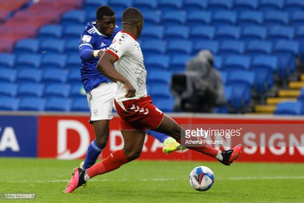 Sheyi Ojo of Cardiff City takes a shot during the Sky Bet Championship match between Cardiff City and Middlesbrough at the Cardiff City Stadium on...
