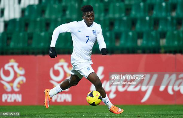 Sheyi Ojo of England controls the ball during the Under18 International Friendly match between Poland and England at the MOSiR Stadium on November 17...