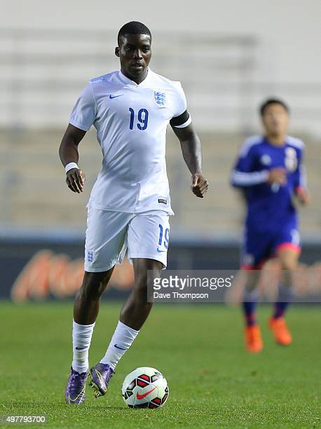 Sheyi Ojo of England during the U19 International friendly match between England and Japan at Manchester City Academy Stadium on November 15 2015 in...