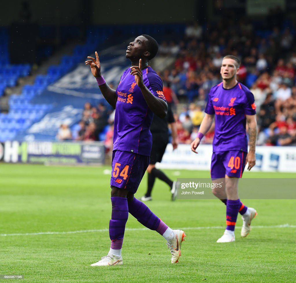 Sheyi Ojo of Liverpool celebrates after scoring a goal during the pre-season friendly match between Tranmere Rovers and Liverpool at Prenton Park on July 10, 2018 in Birkenhead, England.