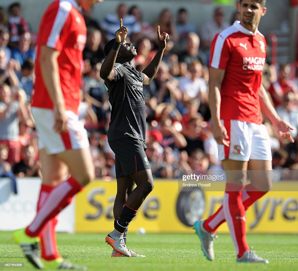 Sheyi Ojo of Liverpool celebrates after scoring the second for Liverpool during a preseason friendly at County Ground on August 2, 2015 in Swindon, England.