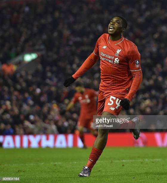 Sheyi Ojo of Liverpool celebrates his goal during The Emirates FA Cup Third Round Replay between Liverpool and Exeter City at Anfield on January 20...
