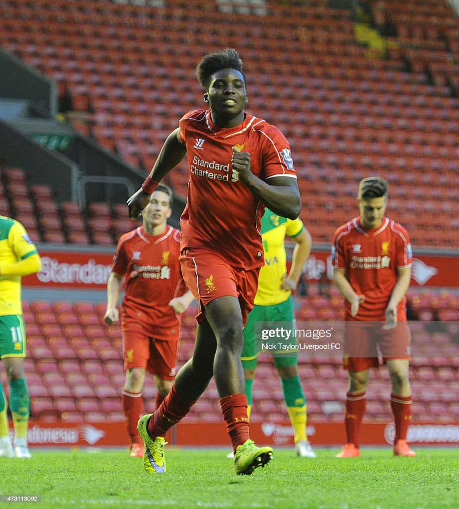Sheyi Ojo of Liverpool celebrates his penalty success during the U21 Premier League match between Liverpool and Norwich City at Anfield on May 11, 2015 in Liverpool, England.