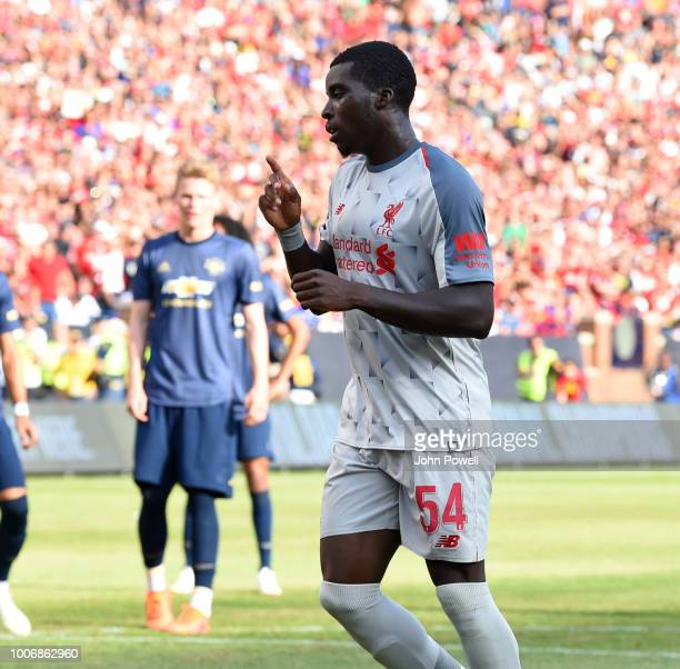 Sheyi Ojo of Liverpool celebrating after scoring a penalty during the International Champions Cup 2018 match between Manchester United and Liverpool...