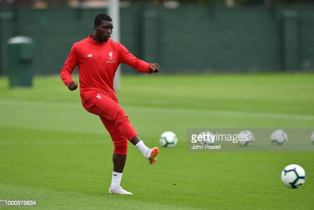 Sheyi Ojo of Liverpool during a training session at Melwood Training Ground on July 17 2018 in Liverpool England