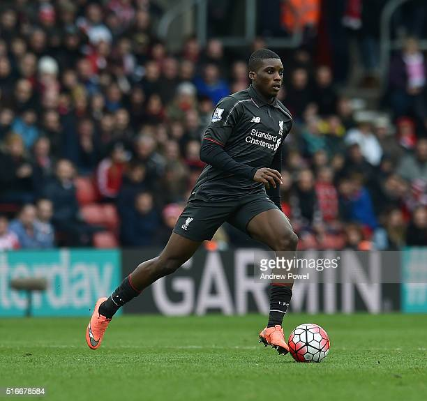 Sheyi Ojo of Liverpool during the Barclays Premier League match between Southampton and Liverpool at St Mary's Stadium on March 20 2016 in...