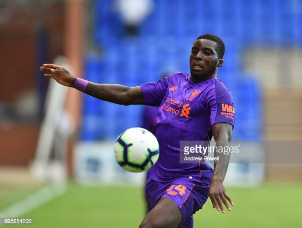 Sheyi Ojo of Liverpool during the preseason friendly match between Tranmere Rovers and Liverpool at Prenton Park on July 10 2018 in Birkenhead England