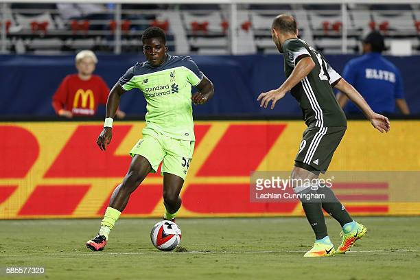 Sheyi Ojo of Liverpool FC looks to get by Gabriel Paletta of AC Milan during the International Champions Cup match at Levi's Stadium on July 30, 2016...