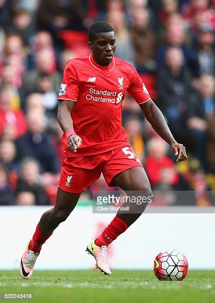Sheyi Ojo of Liverpool in action during the Barclays Premier League match between Liverpool and Stoke City at Anfield on April 10 2016 in Liverpool...