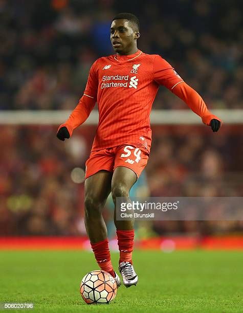 Sheyi Ojo of Liverpool in action during The Emirates FA Cup Third Round Replay match between Liverpool and Exeter City at Anfield on January 20 2016...