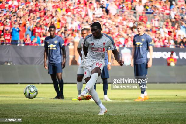Sheyi Ojo of Liverpool scores a goal to make it 13 during the International Champions Cup 2018 match between Manchester Untied and Liverpool at...