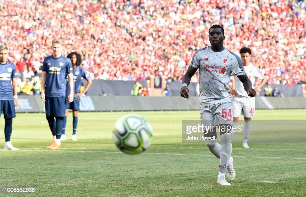 Sheyi Ojo of Liverpool scoring a penalty during the International Champions Cup 2018 match between Manchester United and Liverpool at Michigan...