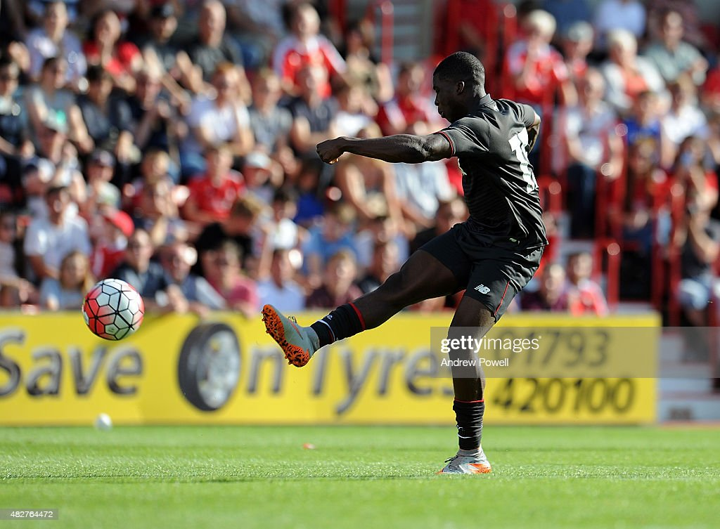 Sheyi Ojo of Liverpool scoring the second for Liverpool during a preseason friendly at County Ground on August 2, 2015 in Swindon, England.