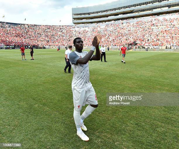 Sheyi Ojo of Liverpool shows his appreciation to the fans at the end of the International Champions Cup 2018 match between Manchester United and...