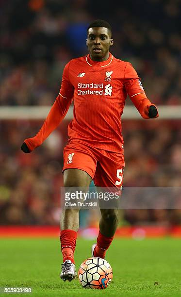 Sheyi Ojo of Liverpool takes the ball forward during The Emirates FA Cup Third Round Replay match between Liverpool and Exeter City at Anfield on...