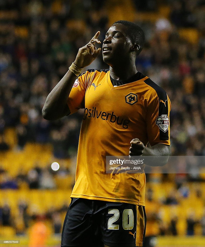 Sheyi Ojo of Wolverhampton Wanderers celebrates after scoring a goal to make it 2-0 during the Capital One Cup match between Wolverhampton Wanderers and Barnet at Molineux on August 25, 2015 in Wolverhampton, England.