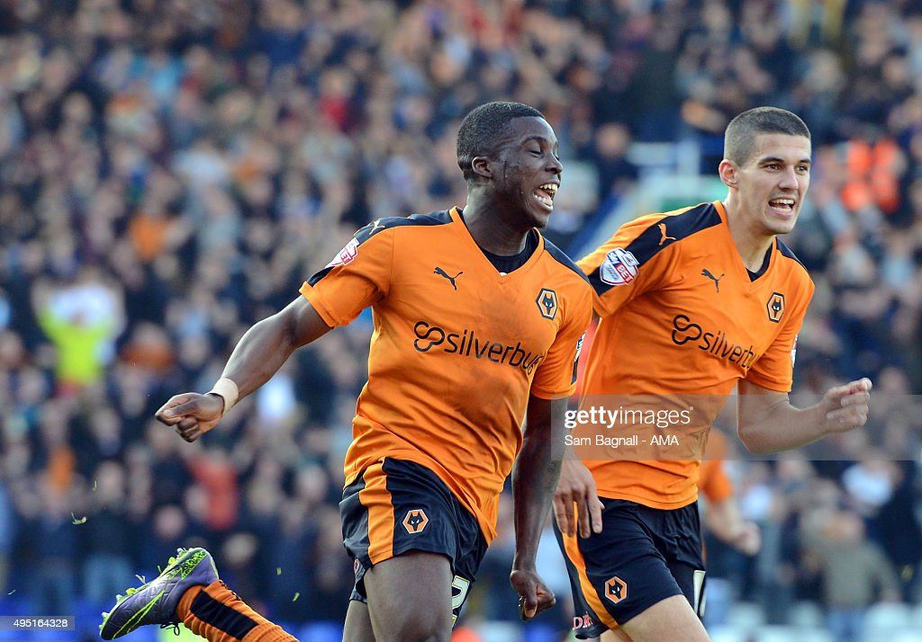 Sheyi Ojo of Wolverhampton Wanderers celebrates after scoring a goal to make it 0-2 during the Sky Bet Championship match between Birmingham City and Wolverhampton Wanderers at St Andrews on October 31, 2015 in Birmingham, United Kingdom.