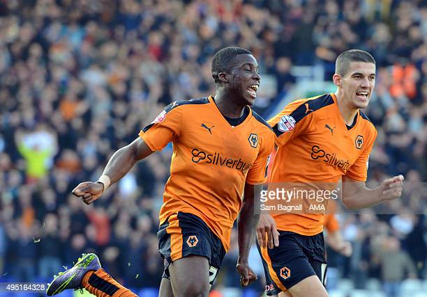 Sheyi Ojo of Wolverhampton Wanderers celebrates after scoring a goal to make it 02 during the Sky Bet Championship match between Birmingham City and...