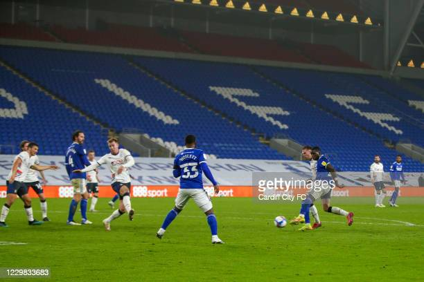Sheyi Ojo scores the fourth goal for Cardiff City FC during the Sky Bet Championship match between Cardiff City and Luton Town at Cardiff City...