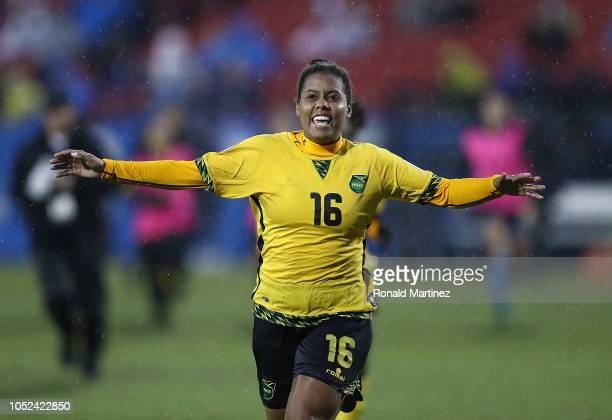 Sheyla Diaz of Jamaica celebrates her game winning goal during the CONCACAF Women's Championship third place match at Toyota Stadium on October 17...