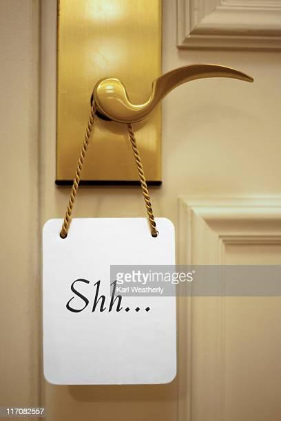 Shh sign on door