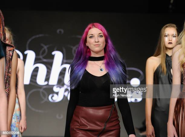 Shhh Fashions designer walks the runway at 2017 Vancouver Fashion Week Day 3 on September 20 2017 in Vancouver Canada