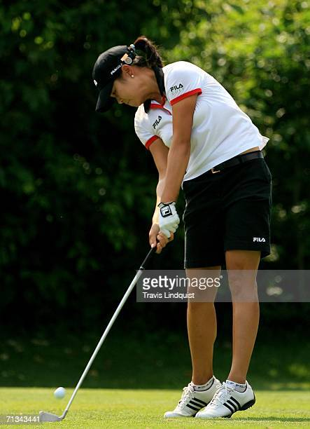 Shi Hyun Ahn of Korea hits her tee shot on the 18th hole during the first round of the 2006 Women's US Open at Newport Country Club on June 30 2006...