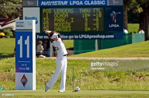 Shi Hyun Ahn of South Korea hits her drive from the 11th tee during second round play in the Navistar LPGA Classic at the Robert Trent Jones Golf...