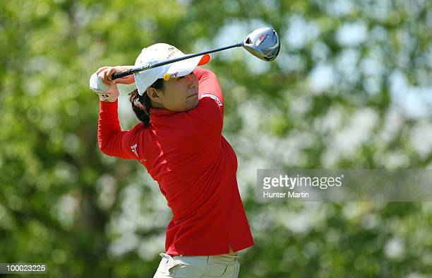 Shi Hyun Ahn of South Korea hits her tee shot on the 10th hole during the first round of the Sybase Match Play Championship at Hamilton Farm Golf...