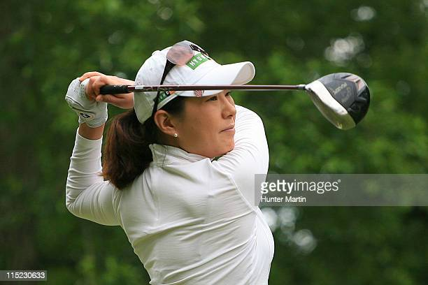 Shi Hyun Ahn of South Korea hits her tee shot on the ninth hole during the second round of the ShopRite LPGA Classic at Seaview Resort's Bay Course...