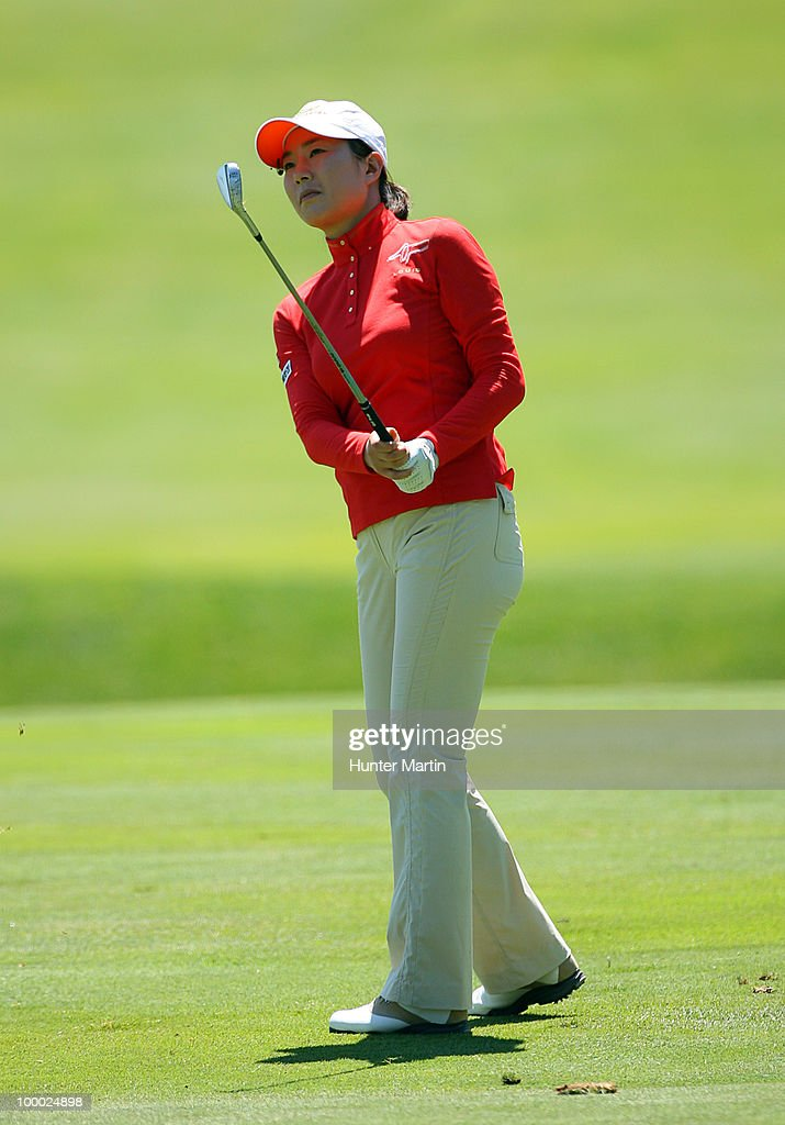 Shi Hyun Ahn of South Korea hits her third shot on the 18th hole during the first round of the Sybase Match Play Championship at Hamilton Farm Golf Club on May 20, 2010 in Gladstone, New Jersey.