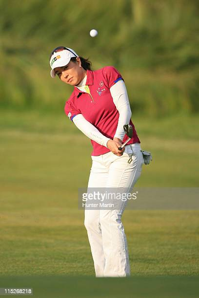 Shi Hyun Ahn of South Korea hits her third shot on the 18th hole during the final round of the ShopRite LPGA Classic at Seaview Resort's Bay Course...