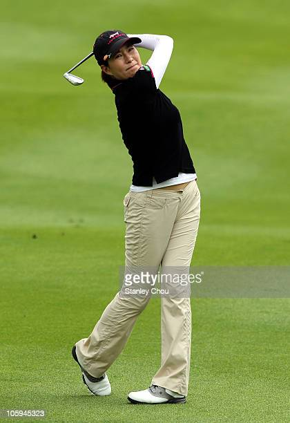 Shi Hyun Ahn of South Korea plays her 2nd shot on the 2nd hole during Round One of the Sime Darby LPGA on October 22 2010 at the Kuala Lumpur Golf...