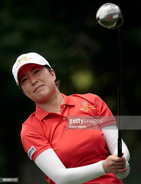 Shi Hyun Ahn of South Korea watches her drive from the third tee during third round play in the Bell Micro LPGA Classic at the Magnolia Grove Golf...