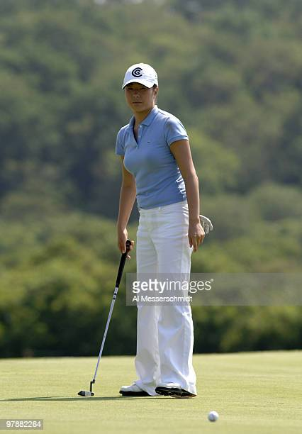Shi Hyun Ahn putts on the 10th greenduring the second round of the 2006 US Women's Open at the Newport Country Club in Newport Rhode Island July 1...