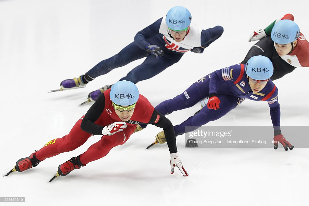 Shi Jingnan of China, Kwak Yoon-Gy of South Korea, Jack Whelbourne of Great Britain and Shaoang Liu of Hungary compete in the Men 1000m Quarterfinals during the ISU World Short Track Speed Skating Championships 2016 at Mokdong Icerink on March 13, 2016 in Seoul, South Korea.