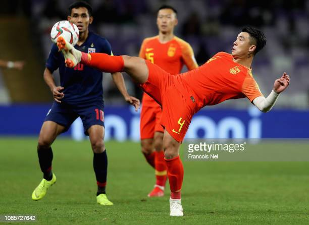 Shi Ke of China in action during the AFC Asian Cup round of 16 match between Thailand and China at Hazza Bin Zayed Stadium on January 20 2019 in Al...