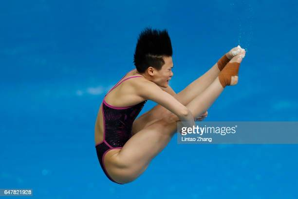 Shi Tingmao of China compete in the Women's 3m Springboard final on day two of the FINA/NVC Diving World Series 2017 Beijing Station at the National...