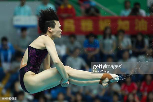 Shi Tingmao of China competes in the Women's 3m Springboard Final of the 13th Chinese National Games at Tianjin Olympic Center Stadium on day one on...