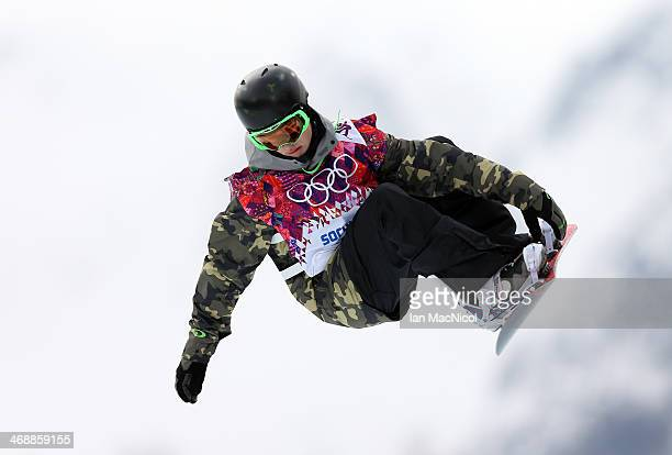 Shi Wangcheng of China competes in the Snowboard Men's Halfpipe on day four of the Sochi 2014 Winter Olympics at Rosa Khutor Extreme Park on February...