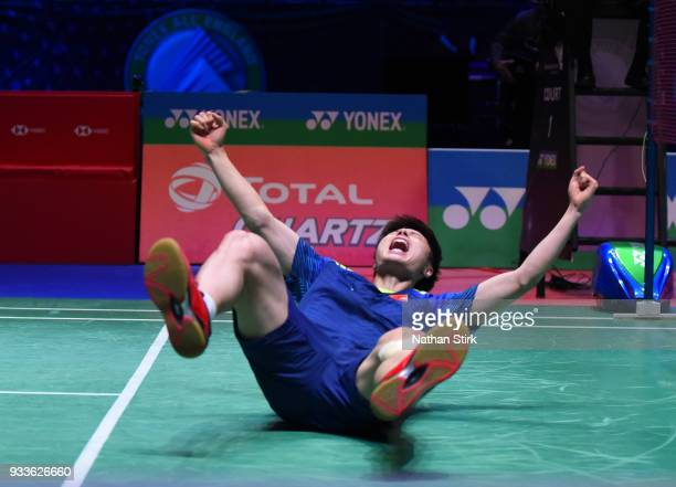 Shi Yuqi of China celebrates after beating Lin Dan of China in the men's singles final on day five of the Yonex All England Open Badminton...