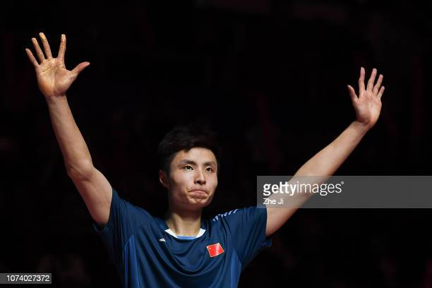 Shi Yuqi of China celebrates after defeating Kento Momota of Japan during the men's singles final match on day 5 of the HSBC BWF World Tour Finals at...