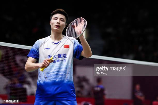 Shi Yuqi of China celebrates the victory in the Men's Singles first round match against Sai Praneeth B. Of India on day two of the Daihatsu Indonesia...