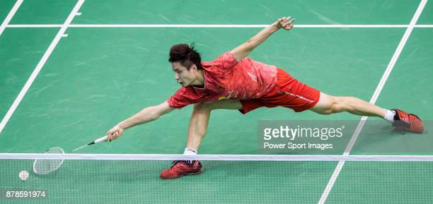 Shi Yuqi of China competes against Hans-Kristian Solberg Vittinghus of Denmark during their men singles round 32 match of the BWF Hong Kong Open...