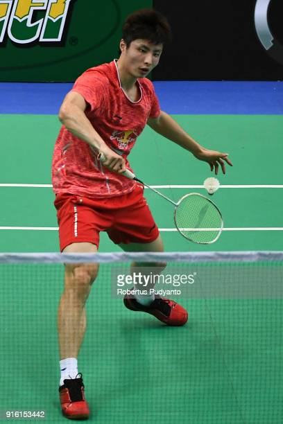 Shi Yuqi of China competes against Kidambi Srikanth of India during Men's Team Quarterfinal match of the EPlus Badminton Asia Team Championships 2018...