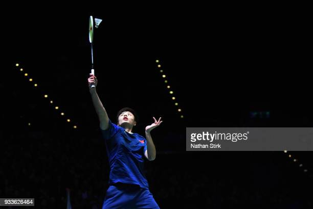Shi Yuqi of China competes against Lin Dan of China in the men's single final match on day five of the Yonex All England Open Badminton Championships...