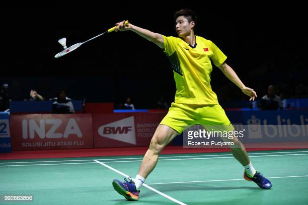 Shi Yuqi of China competes against Prannoy H.S. Of India during the Men's Singles Quarter-final match on day four of the Blibli Indonesia Open at...
