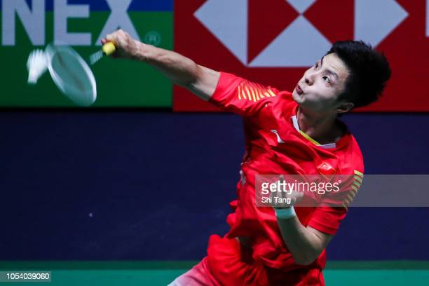 Shi Yuqi of China competes in the Men's Singles quarter finals match against Son Wan Ho of Korea on day four of the French Open at Stade Pierre de...