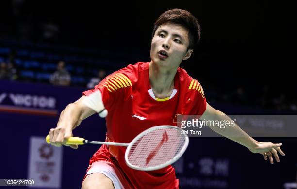 Shi Yuqi of China competes in the Men's Singles second round match against Lee HyunIl of Korea on day three of the China Open at Olympic Sports...
